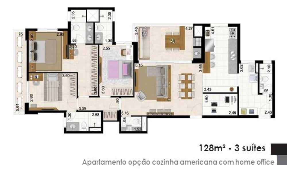 Apartamento com Cozinha Americana com Home Office