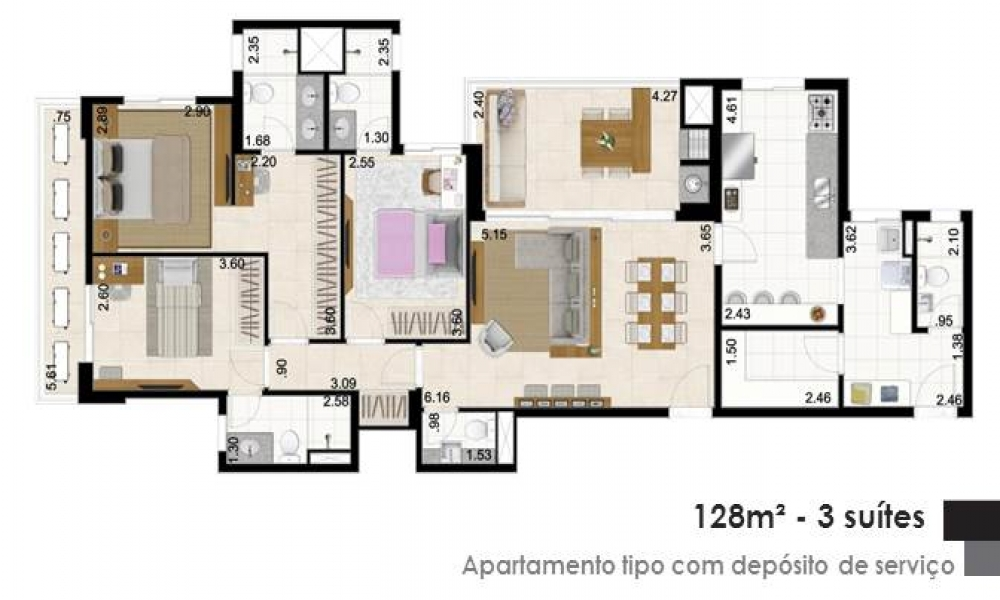 Apartamento com Depósito de Serviço