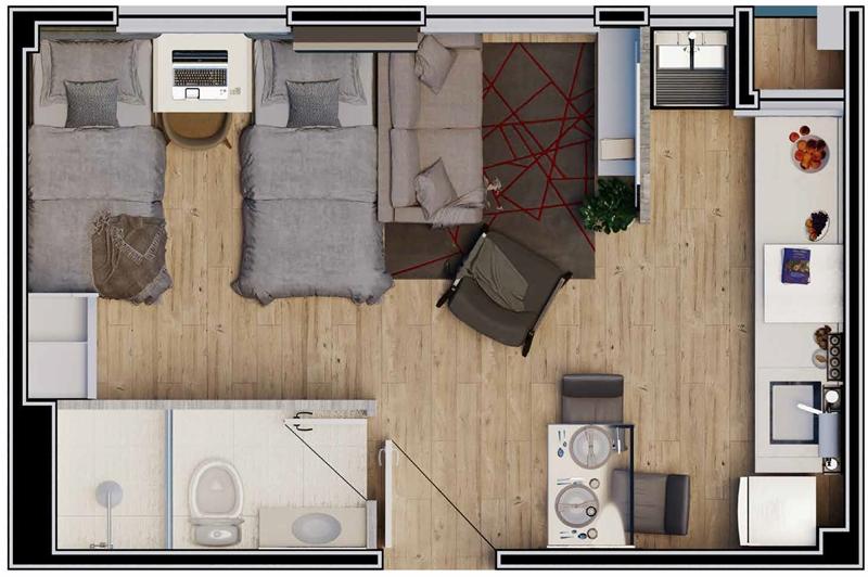Planta studio com espaço integrado de 24m²