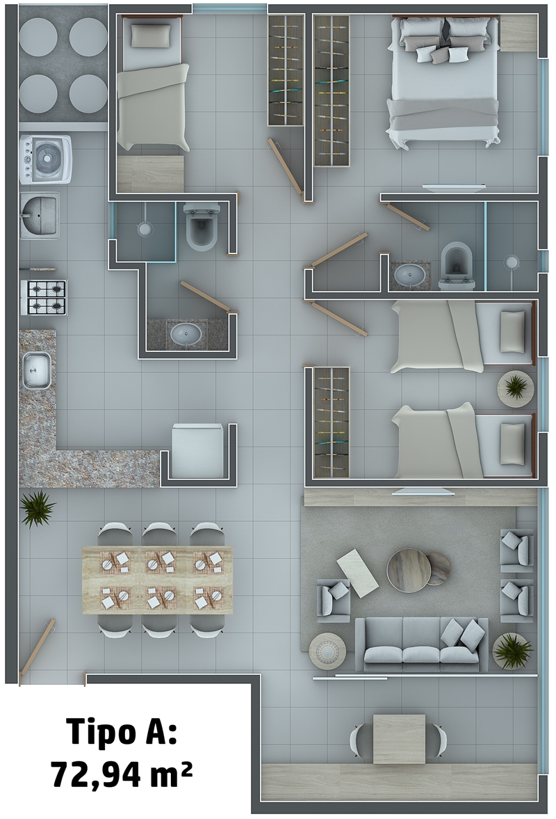 Tipo A: 72,94 m²