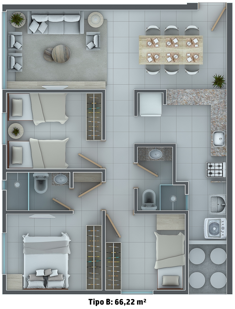 Tipo B: 66,22 m²